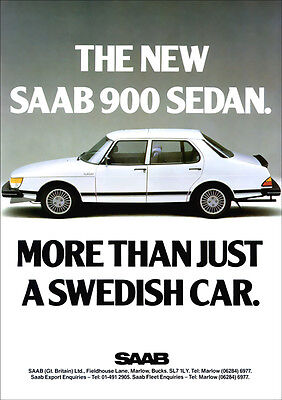 SAAB 900 RETRO A3 POSTER PRINT FROM CLASSIC 80'S ADVERT