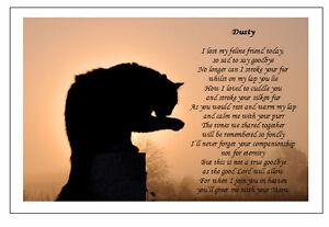 Personalised Cat Bereavement Poem Keepsake Memorial Gift