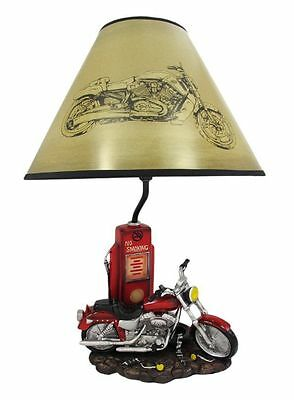 Red Motorcycle Bike & Gas Pump Station Figural Table Lamp w/ Shade Home Decor