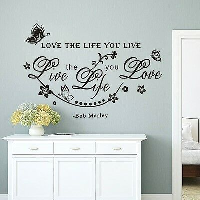 Love the life you live Art Wall Sticker Home Wall Decal Words Room Letters Decor