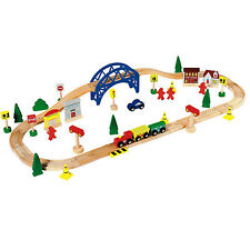 Wooden Train Set Toy - 60 Piece - BRIO Compatible - Chad Valley - Train track