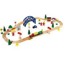 Wooden Train Set Toy - 60 Piece - BRIO Compatible - Chad Valley - Train track