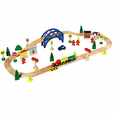 Wooden Train Set  60 Pieces Brio Compatible Railway BY CHAD VALLEY