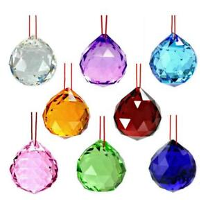 8-MIXED-COLOR-FENG-SHUI-CRYSTALS-30mm-Hanging-Faceted-Rainbow-Prism-Sun-Catcher