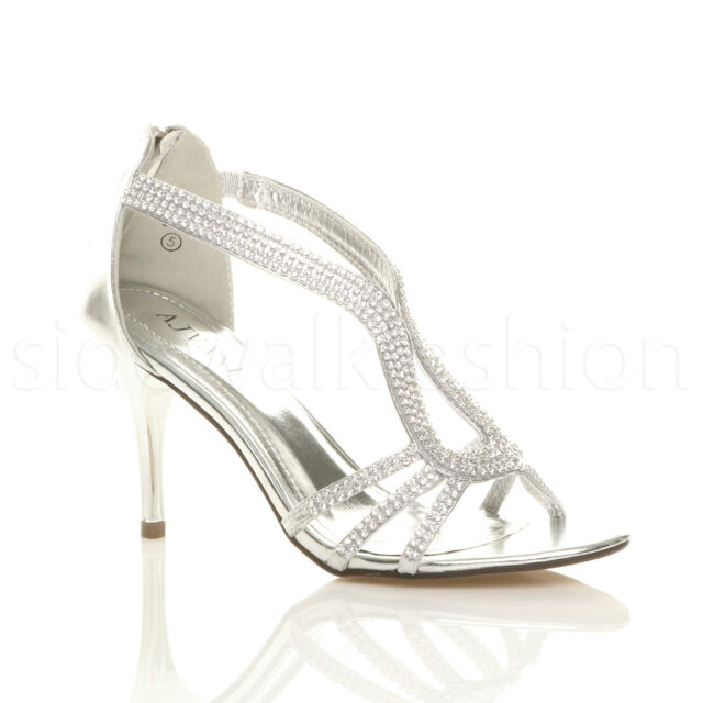 c7fa817417bf Womens Ladies Stiletto Mid Heel Diamante Evening Prom Party Sandals ...