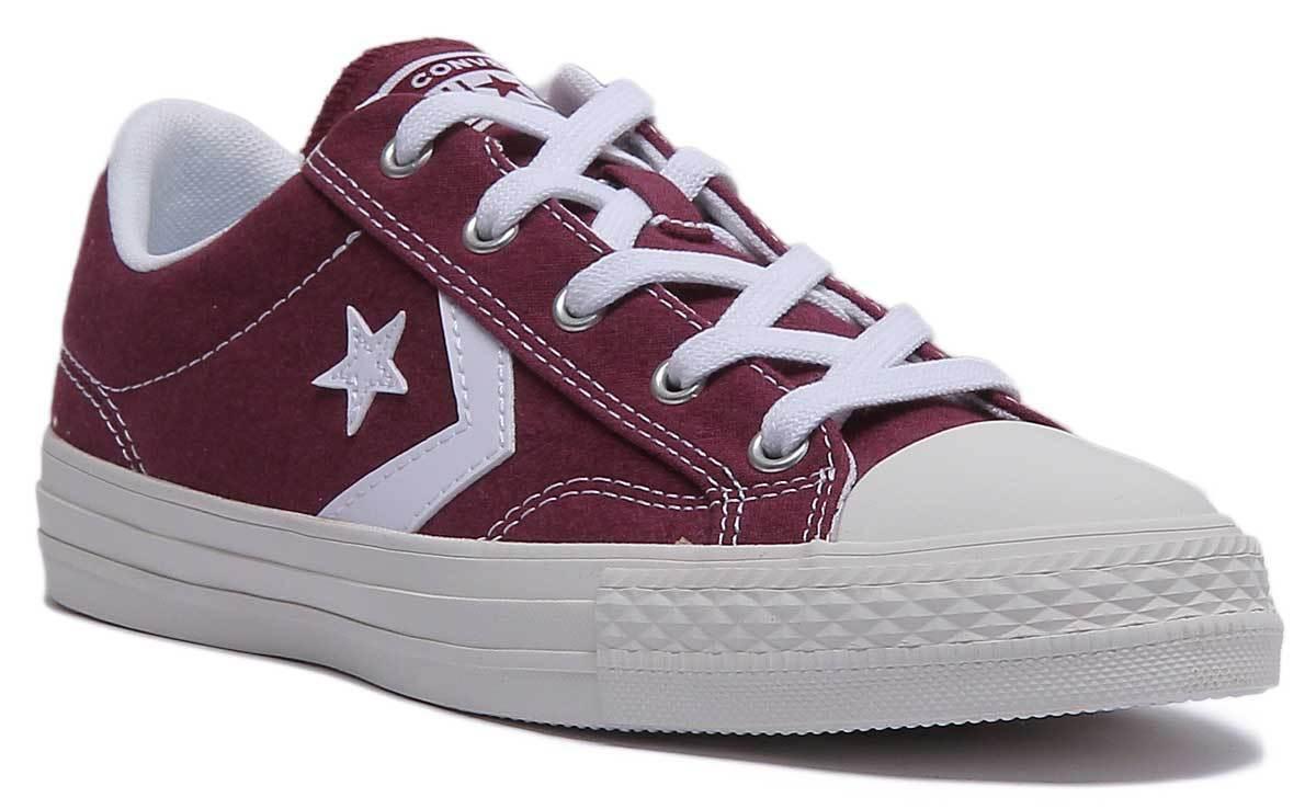 Converse Star Player Ox damen Canvas Trainers In Maroon Weiß Größe UK 3 - 8