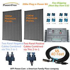SuperBlack 200w 200 Watt 2 100w Monocrystaline Solar Panel Kit for 12v Battery