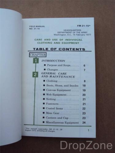 1970/'s US Army Military Care /& Use of Clothing /& Equipment Field Book