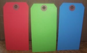 "1000 4 3/4"" x 2 3/8"" Size 5 Blank Inventory Shipping Hang Tag Tags 13 Pt Colors"