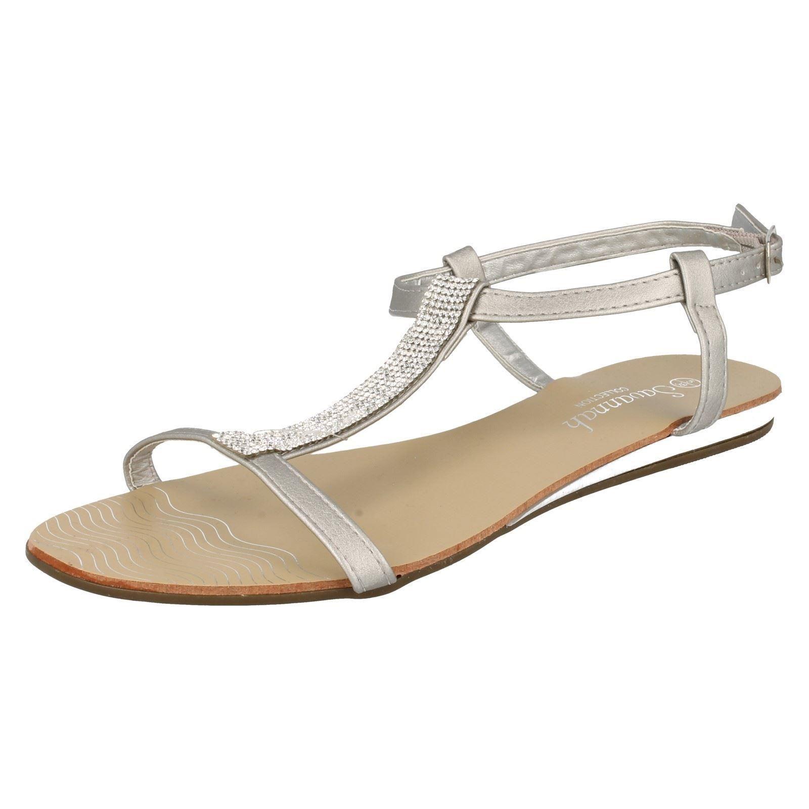 SALE Diamante Savannah F0818 Ladies Silver Synthetic Diamante SALE Detail T-Bar Summe Sandals 3735f0