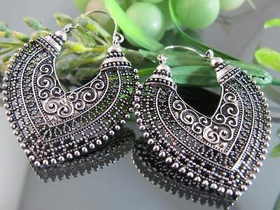 Ethnic Miao Tibet Silver Front Side Hollow Heart Pendant Hoop Earrings T277