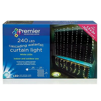Premier LV141743W 240 LED Waterfall Curtain Lights in White