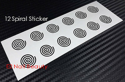 12 x Spiral Nail Art Stencil Vinyl Decal Sticker FREE SHIPPING