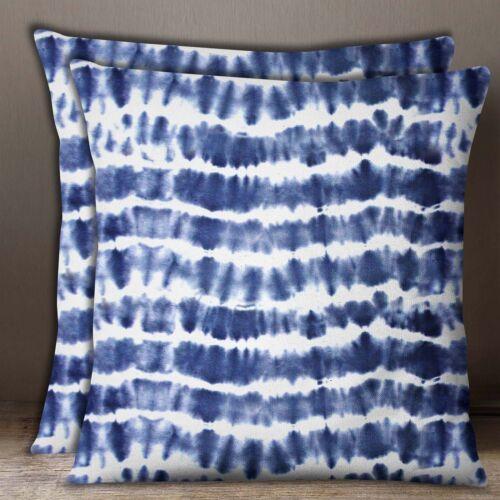 Indian Sofa Housse de coussin bleu indigo shibori en coton imprimé popeline oreiller 2 Pcs