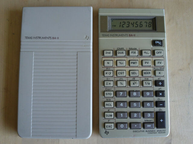 Vintage TI BA-II Executive Business Analyst CALCULATOR w Cover TEXAS INSTRUMENTS