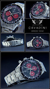 Arrow-Head-Men-039-s-Chronograph-Pure-Luxury-Wine-Red-Face-VERY-NICE