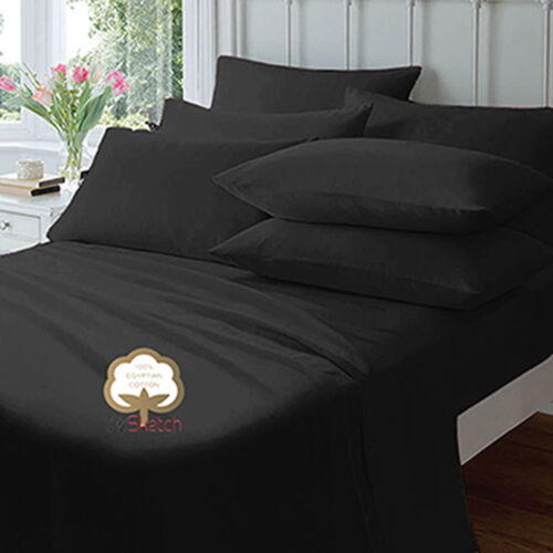 """100/% EGYPTIAN COTTON EXTRA DEEP FITTED 40CM//16/"""" 23CM//9/""""  SHEETS PILLOW COVER"""