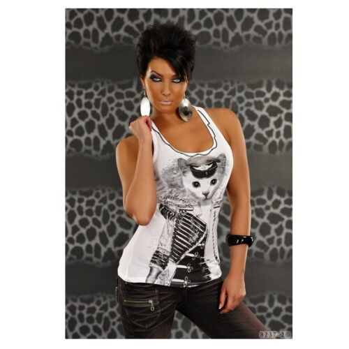 Genesy Femmes Multicolore Moulante t-shirt chat blanc 82372