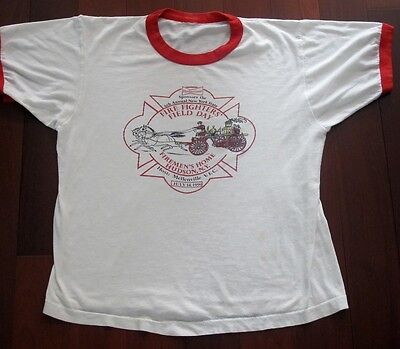 VINTAGE ORIGINAL BUDWEISER TEE SHIRT FIREFIGHTERS FIELD DAY 1990 MEDIUM