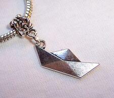 Origami Paper Boat Folding Art Metal Dangle Bead fits European Charm Bracelets