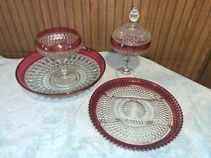 5pc VTG INDIANA GLASS RUBY RED DIAMOND POINT Candy Dish Bowl Platter Compote USA
