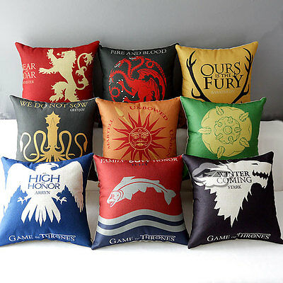 """Game of Thrones Sigils 17"""" House Home Decorative Pillow Cushion Cover Case"""