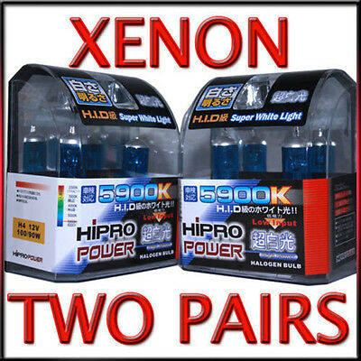 H4 5900K XENON HID HEADLIGHT BULBS LOW / HIGH BEAM 4PCS