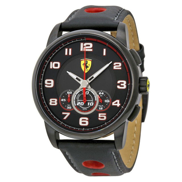 Ferrari Heritage Chronograph Black Dial Black Leather Mens Watch 830059