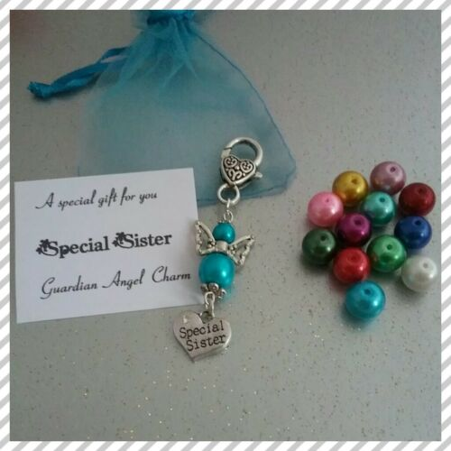 ❤ Handmade Guardian Angel ❤ Family Heart Charm ❤ Birthstone Colours ❤FREE P /& P❤