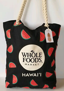 Details About Whole Foods Hawaii Watermelon Tote Bag Small Inner Pouch By Tag Aloha