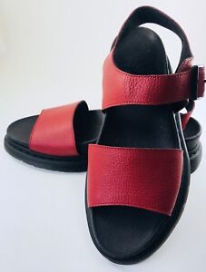 e46ac372bbba DR MARTENS ROMI LEATHER WEDGE PLATFORM HEEL SANDALS-RED- US 11-NEW ...