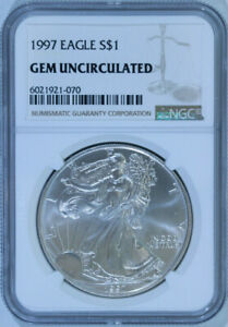 1997-American-Silver-Eagle-Dollar-1-999-Pure-Certified-NGC-GEM-BU