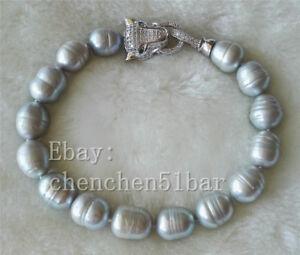 charme-10-11mm-graue-Suesswasser-perle-armband-leopard-kopf-verschluss