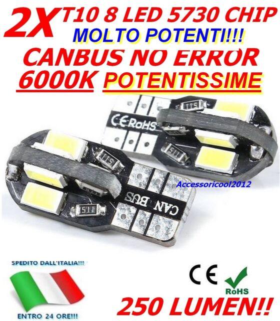 2 LAMPADE T10 W5W 8 LED 5730 SMD POTENTISSIMI CANBUS NO ERROR POSIZIONE 6000K