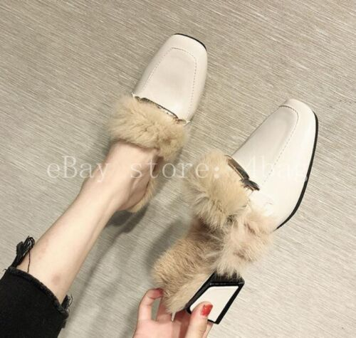 Details about  /Womens Rabbit Fur Lined Leather Mules Block heel Warm Slipper Shoes Loafer Warm