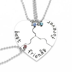 Bff Best Friends Forever Pendant Necklace For Girls Womens 3 Bff