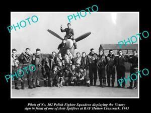 OLD-LARGE-HISTORIC-PHOTO-POLAND-MILITARY-POLISH-FIGHTER-SQUADRON-RAF-HUTTON-1943