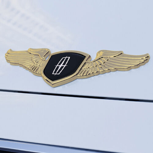 """8.66"""" 3D Alloy Wing Logo Hood Rear Trunk Tailgate Emblem for Lincoln Chrome Gold"""