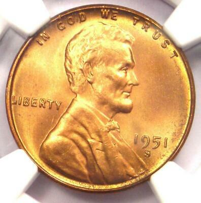 1951-S Lincoln Wheat One Cent  NGC MS67RD