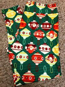 eb5ef965b021e8 Image is loading LuLaRoe-Christmas-TC2-Leggings-Green-Striped-W-Ornaments-