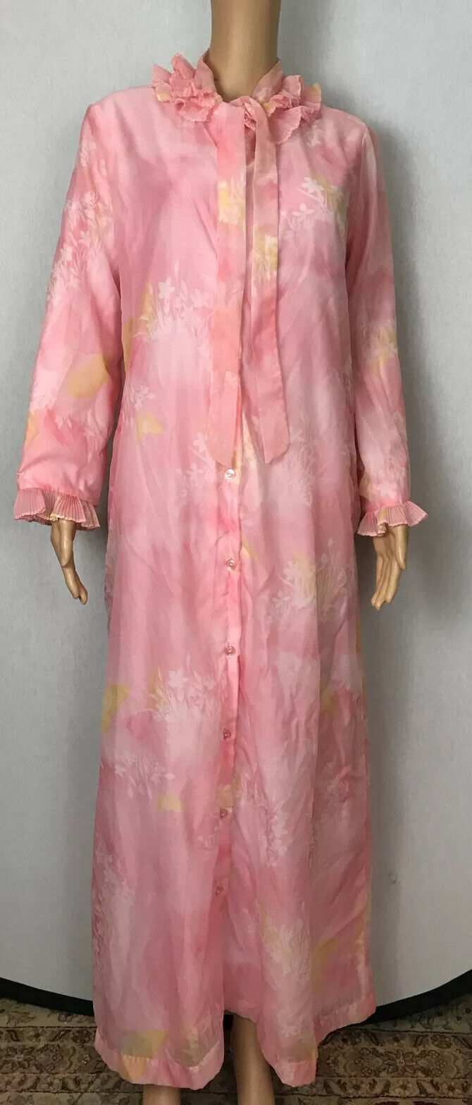 Vintage Lori Till Long House Coat Coral Flowers Shear Fully Flannel Lined M