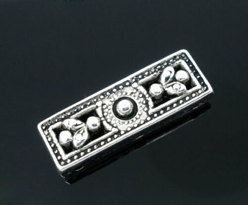 20 Silver Tone HOTSELL 3Holes Rectangle Spacers Beads 26x9mm