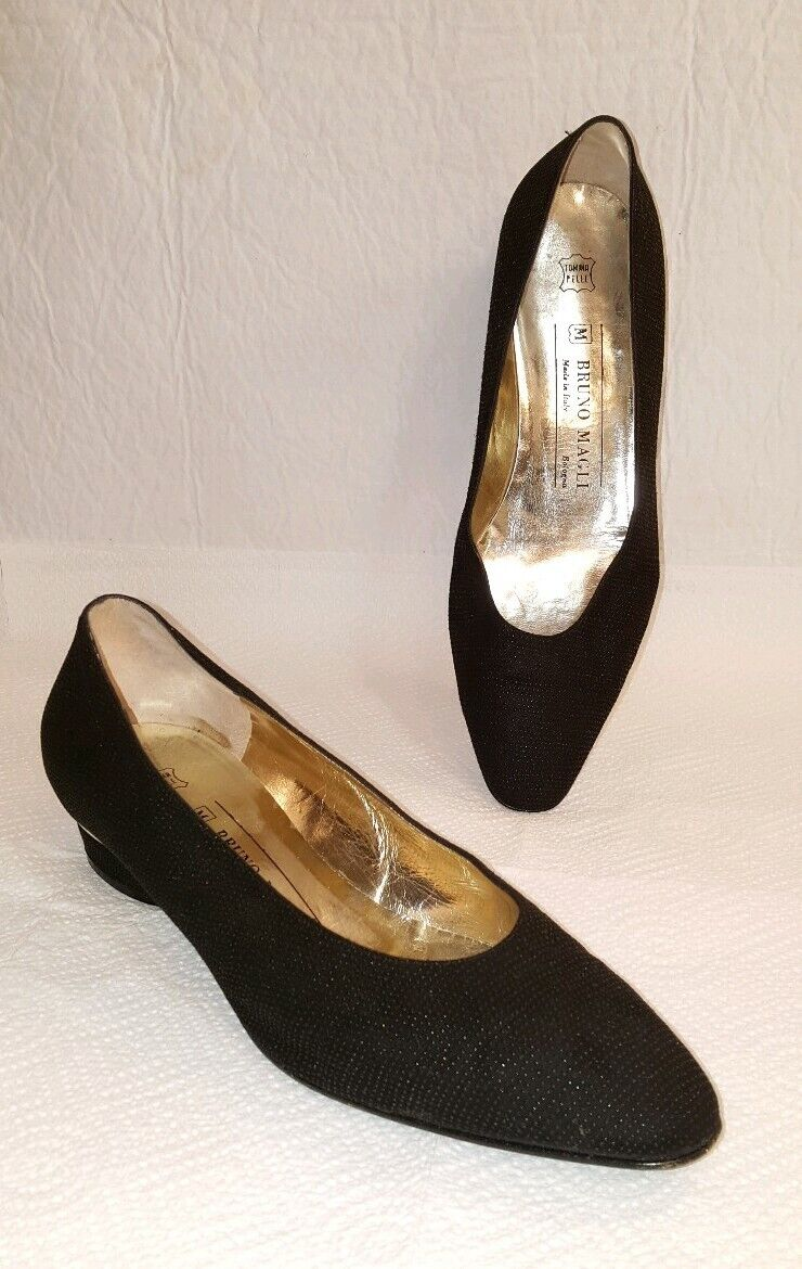 BRUNO MAGLI Black Textured Leather Low Heel shoes Size 8 B Women's