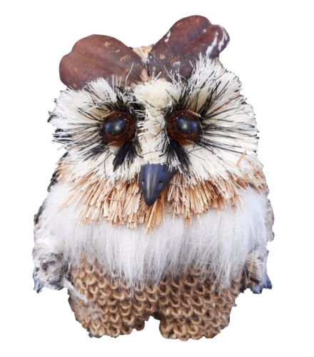 New Owl Bird Burlap Feather Straw Ornament Figurine Craft Hobby Holiday Decor