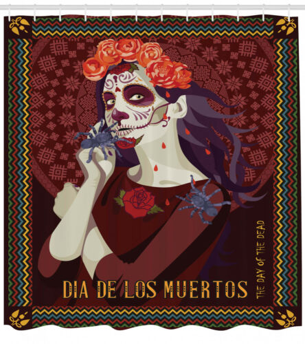 Day of the Dead Shower Curtain Fabric Bathroom Decor Set with Hooks 4 Sizes