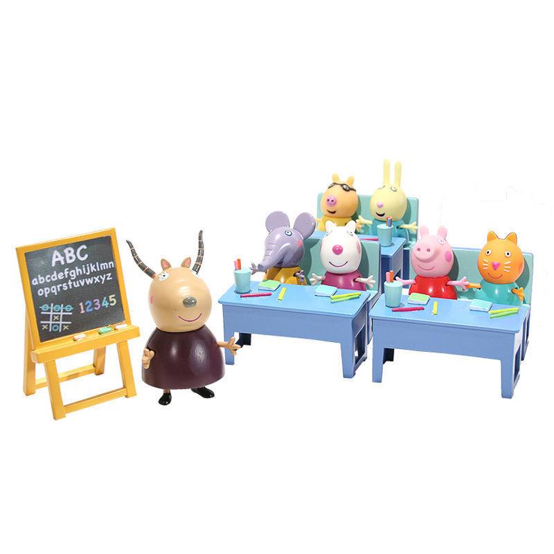 Peppa Pig Conjunto de juego de sala de clase de aula de cerdo de juguete