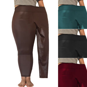 Women-Ladies-PU-Leather-Trousers-High-Waist-Slim-Fit-Stretchy-Pants-Plus-Size