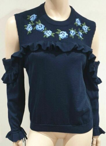 The in Blu Top Maglione ricamato lana scuro L Kooples saltatore blu Cold Ruffle rCrtwqOn
