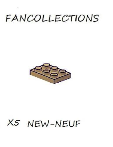 Dark Tan Plate 2x3-3021  NEUF LEGO x 5