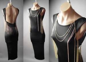 Gold-Fringe-Body-Chain-Necklace-Open-Back-Backless-Black-Pencil-296-mvp-Dress-L